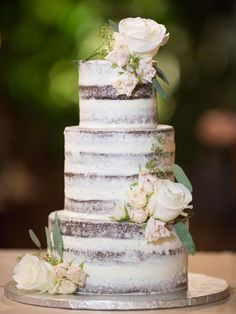 Naked cake, chocolate, roses, three tiered wedding cake // Care Studios
