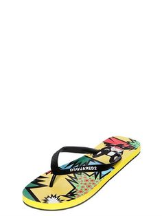 DSQUARED2 Printed Rubber Flip Flops, Multicolor. #dsquared2 #shoes #sandals