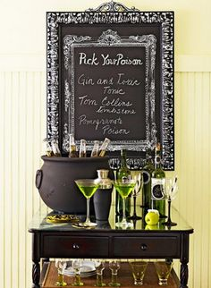 Like this idea. Think I would put the name of the drink and how to make instead and have 3 chalkboards on the buffet....