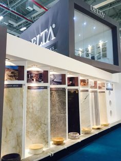 Izmir Marble Fair 2015 If you like the images in vertical gardens, you can look at my other pictures Tile Showroom, Showroom Design, Turkish Marble, Cool Teen Bedrooms, Painting Tile Floors, Bathroom Showrooms, Vertical Garden Wall, Tile Stores, Stand Design