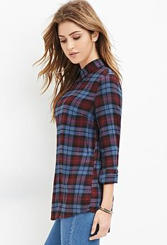 Collared Plaid Blouse