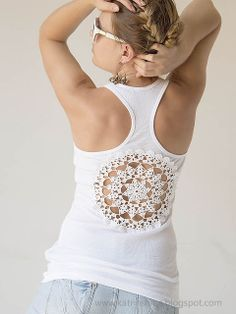 Tutorial - Tanks with upcycled vintage crochet doily back. What an awesome idea!! I've made so many doilies so I can do this project right away :)