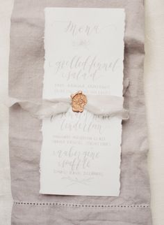 When it comes to dreamlike days, this next inspiration will make your heart skip a beat. Because not only is it overflowing with softly draped fabric, it also features several stunning Ines Di Santo gowns alongside ethereally elegant blooms. Romantic Wedding Stationery, Formal Wedding Invitations, Wedding Menu Cards, Wedding Reception Decorations, Wedding Stationary, Wedding Paper, Romantic Weddings, Wedding Table, Diy Wedding