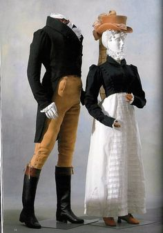 The record says these two ensembles would have been worn for hunting. However, since hunting was usually made on the back of a horse, these can count as riding ensembles as well. On female model, hunting ensemble from 1815: spencer and petticoat. The spencer was used by women to protect themselves from the freezing European winters while still maintaining the fashionable Empire silhouette of the day. It was heavily inspired from men's fashion. On male model, frock coat and breeches from…