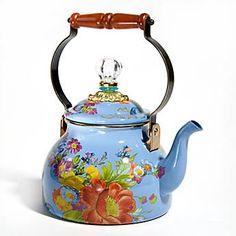 ♥•✿•♥•✿ڿڰۣ•♥•✿•♥ღڿڰۣ✿•♥•✿♥ღڿڰۣ✿•♥✿♥ღڿڰۣ✿•♥  MacKenzie-Childs - Flower Market Enamel 2 Quart Tea Kettle - Blue  ♥•✿•♥•✿ڿڰۣ•♥•✿•♥ღڿڰۣ✿•♥•✿♥ღڿڰۣ✿•♥✿♥ღڿڰۣ✿•♥