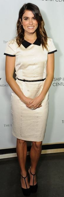 Who made Nikki Reed's tan short sleeve dress and black pumps that she wore in Los Angeles on February 26, 2014?