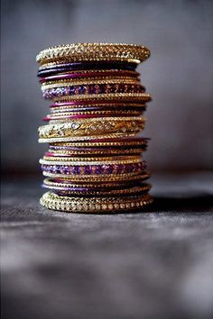 gold and purple bagles