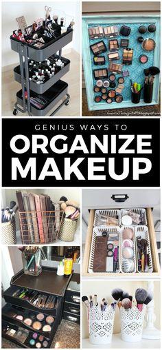 Makeup storage ideas! Great ideas!!! #makeup #organize #makeuporganization #mamaofdrama