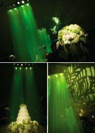Green Wedding Decoration and Lighting #wedding  #emerald