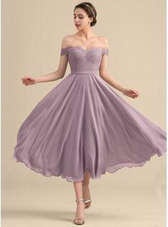 def185e1176   147.99  A-Line Princess Off-the-Shoulder Tea-Length Chiffon Lace Bridesmaid  Dress With Beading Sequins (007153311)