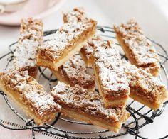 Caramel streusel slice uses condensed milk Baking Recipes, Cake Recipes, Dessert Recipes, Kiwi Recipes, Dessert Bars, Vegan Desserts, Oat Slice, Tray Bakes, No Bake Cake