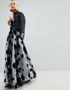 ASOS WHITE Flocked Spot Tulle Maxi Skirt