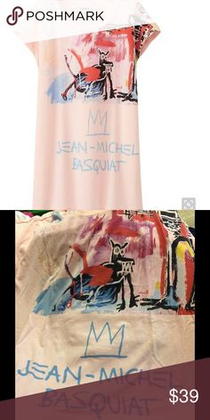 Jean Michael Basquait Tee NWT Sz small pink A collaboration with uniqlo this top is a reprint of Jean Michael basquait Limited Edition SOLD OUT Uniqlo Tops Tees - Short Sleeve