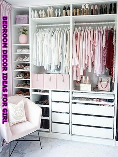 Girl Room Decor Ideas - How do you make a girl room pretty? Girl Room Decor Ideas - What's the best color for a teenage girl's bedroom? Bedroom Closet Design, Room Ideas Bedroom, Closet Designs, Home Room Design, Bedroom Decor, Closet Renovation, Closet Remodel, Wardrobe Room, Closet Layout
