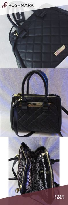 Black Quilted Steve Madden Satchel/Crossbody Bag New and never used. Very roomy! Features gold hardware throughout. Has a deep slip pocket on the front of the bag and gold nameplate at bottom of front. Wide gold plate on back. Two slip pockets in the interior as well as one zippered pocket. Each zipper on the top of the bag opens for additional pockets. Magnetic button closures on both sides of the bag as well as at the top. Crossbody strap can be removed. Comes from a pet friendly and smoke…