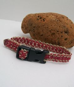 Hemp Kitty or Chihuahua Collar in Red and Natural by bhangtiez