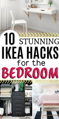 10 Brilliant Ikea Hacks That Will Take Your Bedroom To The Next Level. Ikea ideas for small spaces, apartment master bedrooms, for couples and women. Liven up your bedroom decor, with a cheap bed head Small Bedroom Storage, Small Space Bedroom, Master Bedroom Closet, Woman Bedroom, Master Bedrooms, Master Suite, Small Bedroom Hacks, Shoe Storage Ideas Bedroom, Wardrobe Small Bedroom