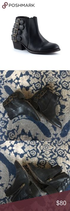 H by Hudson Encke Bootie Super cute black booties with brass buckles. H By Hudson Shoes Ankle Boots & Booties