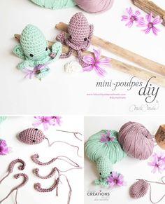 diy tuto crochet amigurumi poulpe diymelimelo laboutiquedemelimelo Chat Crochet, Crochet Diy, Crochet Amigurumi, Crochet Hats, 1. Mai, Bonnet Crochet, Crochet Necklace, Weaving, Artisan