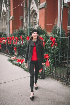 Pop of Red - Carly the Prepster Preppy Winter Outfits, Dressy Casual Outfits, Preppy Fall, Holiday Outfits, Preppy Style, Cute Outfits, My Style, Holiday Fashion, Autumn Winter Fashion