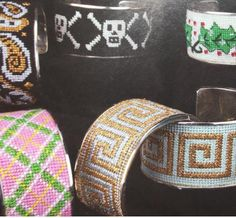 Cheryl Schaeffer bracelets needlepoint