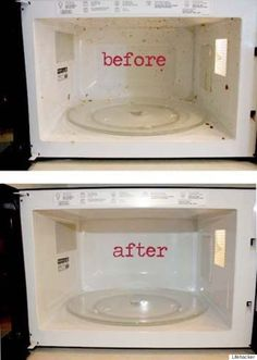 Steam clean your microwave by heating a bowl of water and vinegar inside. Then wipe clean!