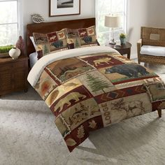 Laural Home Nature Lodge Collage Comforter Standard Pillow Sham, White ecru Twin Comforter, Pillow Shams, Bedding Sets, Pillows, Bed Styling, Bedding Collections, Luxury Bedding, Unique Bedding, Quilts