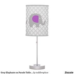 Gray Elephants on Parade Table Lamp