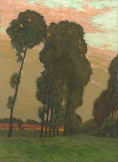 Charles Warren Eaton  Poplars at Sunset (Belgium or Holland), 1900-10  (Oil on canvas, 22 x 16 inches)  Spanierman Gallery, NY