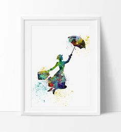 Mary Poppins Watercolor Art Print, illustrations Wall Art Print Watercolor Painting Wall Hanging Poster Print (44)
