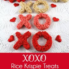 XOXO Rice Krispie Treats - a sweet and delicious way to show your family that you love them on Valentine's Day.