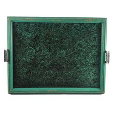 Vintage Green & Black Handled Glass / Wood / Metal Tray, TheHourShop.com – The Hour
