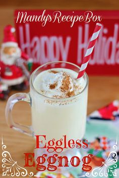 ) instant Vanilla pudding mix 4 C. milk 4 C. heavy cream ½ C. Vanilla extract 2 or 3 tsp. Rum extract Garnish: Whipped cream and nutmeg Eggless Recipes, My Recipes, Dessert Recipes, Favorite Recipes, Drink Recipes, Eggless Eggnog Recipe, Vegan Recipes, Christmas Goodies, Christmas Desserts