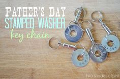 Two Shades of Pink: Fathers Day Gift: Stamped Washer Keychain