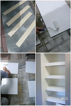 """Hide ugly wire shelves with wood covers - cut 3/8"""" plywood/MDF to size of shelf, paint; cut 3 1/2"""" molding to length of shelves, paint, glue AND attach with finishing nails, putty nail holes & touch up as needed."""