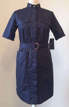 ZARA Chic French Navy Military Style Dress W/Bronze Stud Detail XS