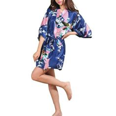 Short Kimono Robe Night Robe Bath Robe Fashion Dressing Gown For Women Women's Robe Floral Bathrobe Cute Sleepwear, Silk Sleepwear, Sleepwear Women, Kimono Fashion, Fashion Dresses, Night Dress For Women, Short Kimono, Bridesmaid Robes, Silk Satin