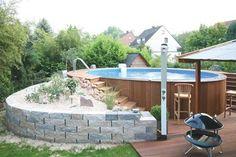 Bildergebnis für pools mit holz umrandet