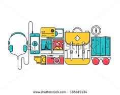 Flat design thin line style modern vector illustration icons set of city trip outdoor objects, tourism and holiday journey equipment, hiker items for travelling. Isolated on white background.