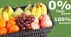 0% tilsat sukker - 100% naturlig sund!  Frugtsukker tæller ikke negativt i sukker-regnestykket, men det gør tilsat sukker.  Læs hvordan du kan leve sundere med frugt på arbejdet  - helt naturligt. Se mere på: www.frugtkurven.dk