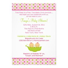 Peas in a Pod Twin Girls 5x7 Baby Shower Invite