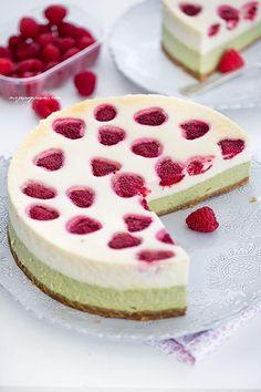 and matcha cheesecake with raspberries