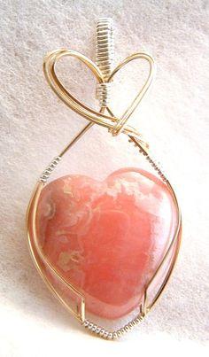 Rhodochrosite heart in gold wire pendant