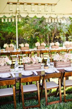 Long tables at outdoor reception