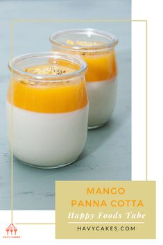 """Mango Panna Cotta - Happy Foods Tube  Nowadays, panna cotta or """"cooked cream"""" becomes a popular dessert all over the world. Not only because it includes very few ingredients and easy to make, but also due to its rich and silky smooth. In this article, we are going to show you how to make Panna cotta at  home   #MangoPannaCotta #MangoPannaCottarecipes #havycakes #pannacottarecipes Mango Panna Cotta, Mango Cake, Small Spoon, Happy Foods, Few Ingredients, Peppermint, Food To Make, Cake Recipes, Tube"""