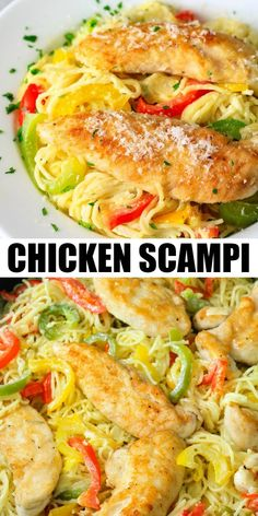 This Chicken Scampi Recipe is bursting with. This Chicken Scampi Recipe is bursting with flavor from the white wine sauteed peppers Italian spices and rich white sauce. Its also super easy and quick to make! Italian Chicken Recipes, Italian Dinner Recipes, Chicken Pasta Recipes, Chicken Peppers Pasta Recipe, Healthy Chicken Scampi Recipe, Chicken Scampi Recipe Without Wine, Scampi Sauce Recipe Easy, Pasta With Peppers, Quick Recipes For Dinner