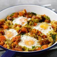 Sweet potato hash with baked eggs