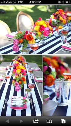 Black and white stripes. Striped Wedding, Wedding Black, Eloise At The Plaza, Golden Birthday Parties, Orange Party, Derby Party, Bridal Shower Party, Party Entertainment, Reception Decorations