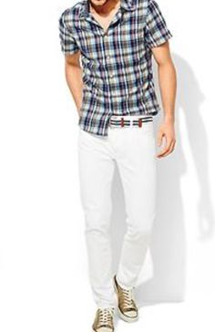 Madras plaid, slim jeans and chuck Taylors