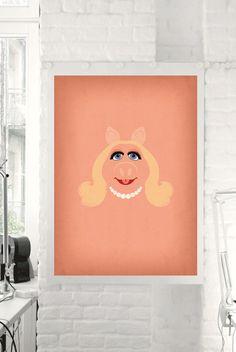 "The Muppets Show ""Miss Piggy"" Minimalist Poster - Retro Style Print , Home Wall Muppet Babies Nursery Art Winnie The Pooh Nursery, Baby Nursery Art, Baby Room, Nursery Ideas, Bedroom Ideas, Monet, Minimalist Poster, Minimalist Invitation, Minimalist Art"